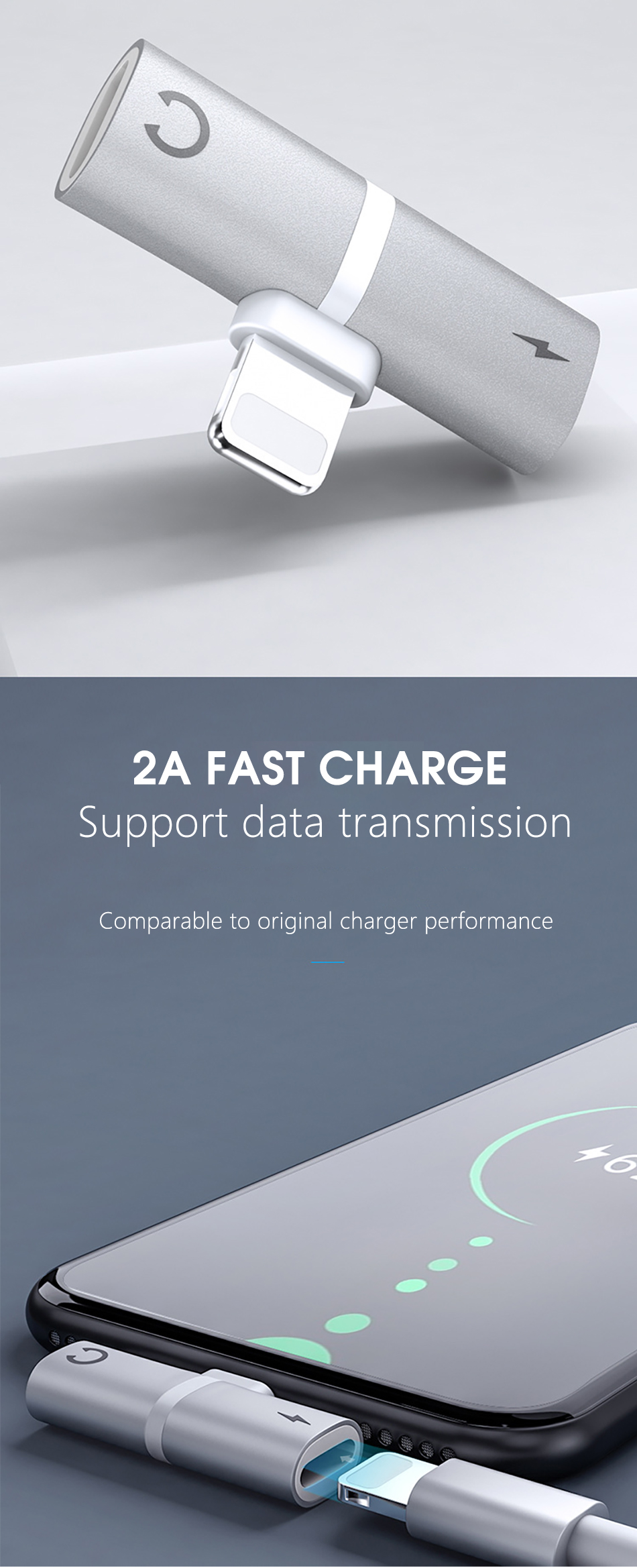 !ACCEZZ 3 IN 1 Earphone Audio Adapter For iphone  X 8 7 Plus XS MAX XR Fast Charge Listening Adapter Dual Lighting AUX Splitter (3)