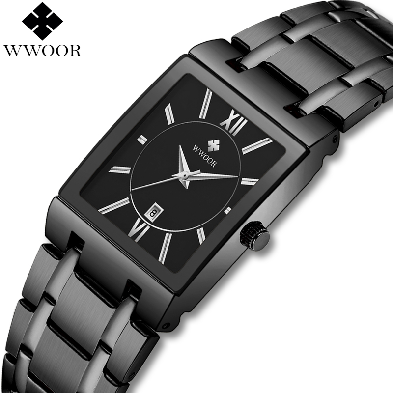 WWOOR Brand Men Square Quartz Watch Business Luxury Mens Watches Waterproof Black Dress Wrist Watch Man Clock Relogio Masculino