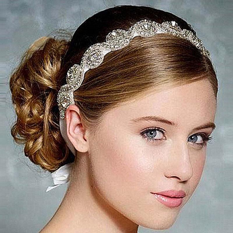 Bridal Hair Accessories Vintage Inspired Rhinestone Headband Crystal Pearls Wedding Headband Women Forehead Hair Jewelry 1 PC 3