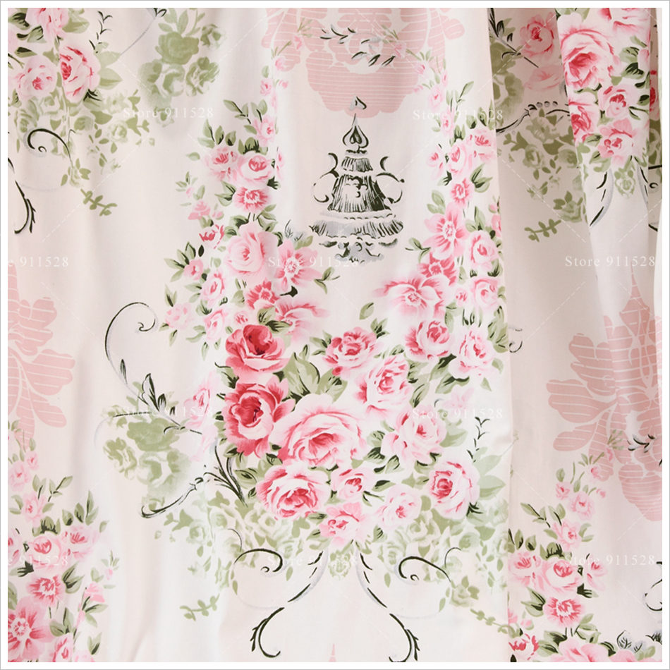 Shabby Chic 100% Cotton Pink Peony Rose in Light Blue ...