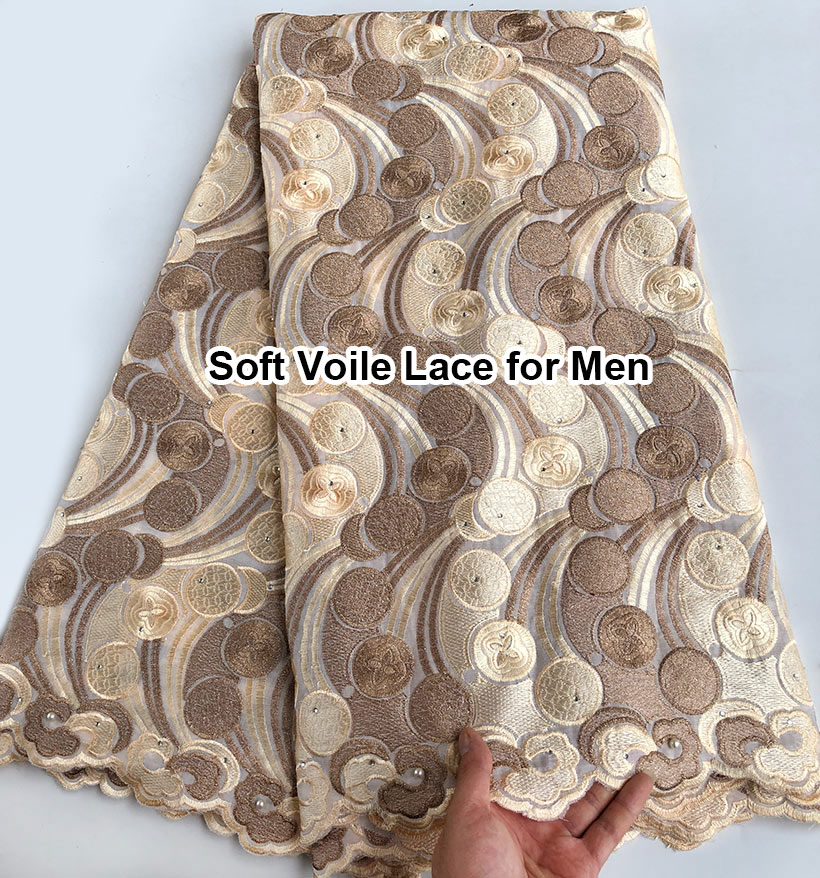 Without holes Champagne soft men's voile lace African lace fabric cotton 100% 5 yards per piece high quality good choice