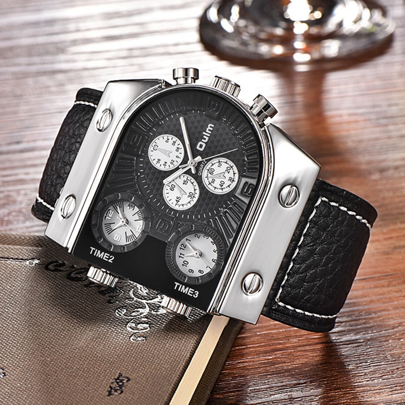 Oulm Sports Men Watches Three Time Zone Big Quartz Watch Male Brand Luxury Leather Military Hours Wristwatch relojes hombre for gopro hero 4 gopro hero3 accessories kit xiaomi yi accessories for gopro sjcam xiao yi 4k action cam camera bag bike mount