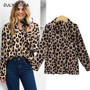 ZOGAA 2019 New Single-breasted Print Women Shirt Streetwear Female Full Sleeve Leopard Shirts Women's Fashion Sweet Loose Shirt
