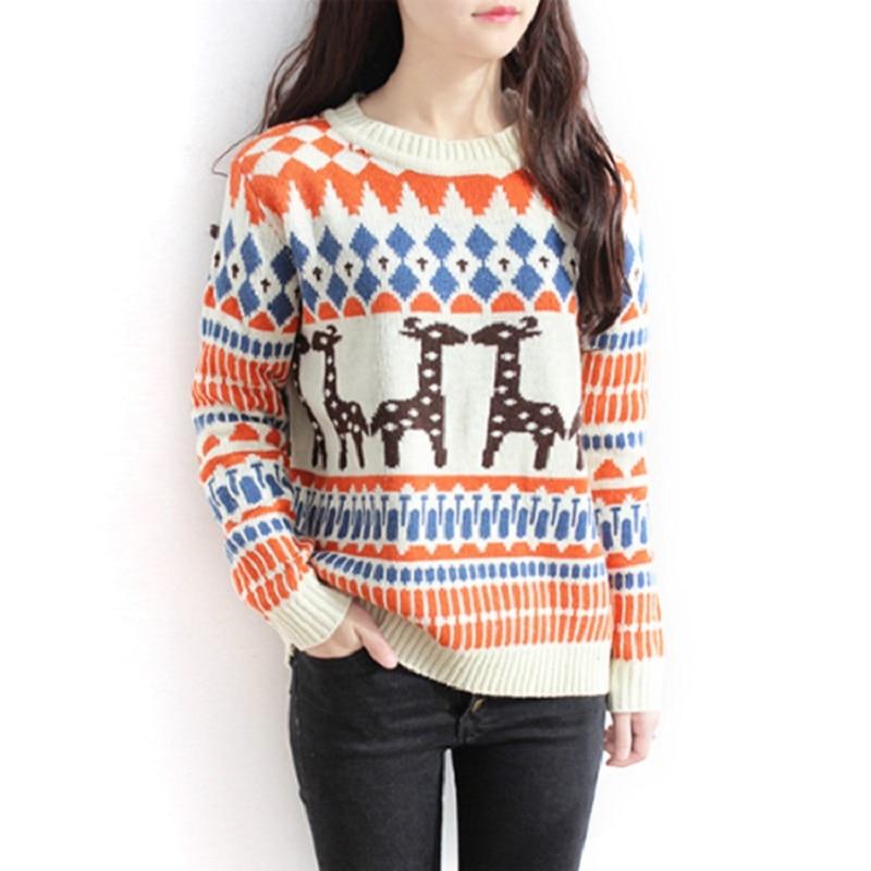 2016 New Autumn Winter font b Women s b font Christmas Sweaters Deer print Knit O