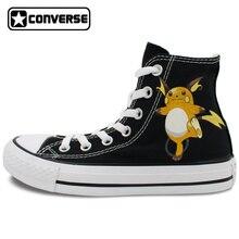 Pokemon Go Converse All Star Black Women Men Shoes Raichu Design Hand Painted Shoes High Top Woman Man Sneakers