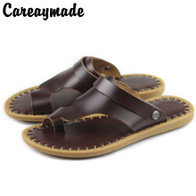 Careaymade-Classic Men Soft Sandals Comfortable Men Summer Shoes Cowhide Sandals Men's Fashionable Handmade Leather Sandals