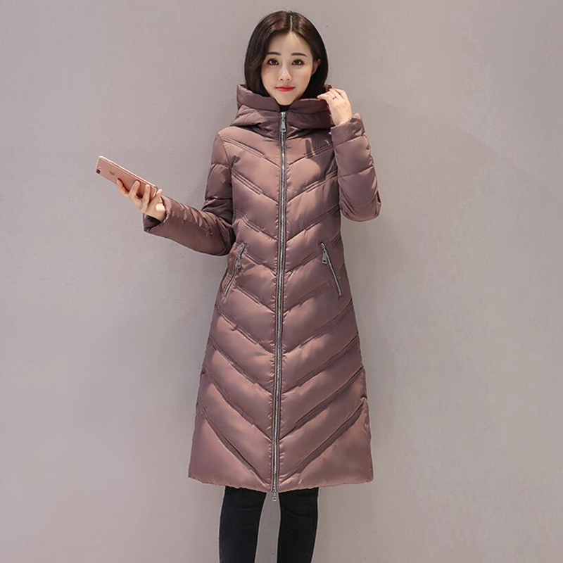 2017 New Women Winter Coat  Lightweight Cotton Hooded Jacket in the long Section Slim Female Parka Outwear lucky panda 2016 the new winter coat and female slim in the long and small lattice fragrant cotton lkp243