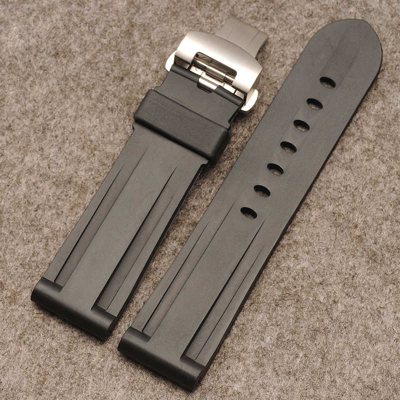 Watch accessories Butterfly buckle Silicone rubber straps use with the for Panerai 111 strap 24mm black lukeni 24mm camo gray green blue yellow silicone rubber strap for panerai pam pam111 watchband bracelet can with or without logo