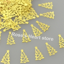 2016 1000PCS gold christmas tree metal nail foil decals 3d nails decorations Accessories Nail Styling Tools nail sequin #17