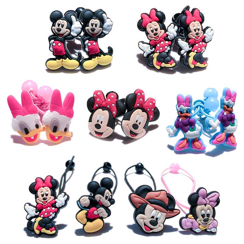 1-5pairs Mickey Minnie Hot Cartoon Hairpins Barrettes Kids Headwear Multicolor Hair Ropes Hair Travel Accessories