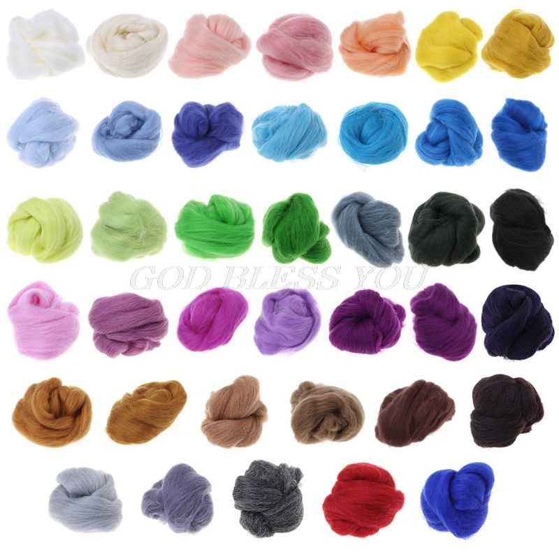 Wool Corriedale Needlefelting Top Roving Dyed Spinning Wet Felting Fiber Sewing Tools & Accessory