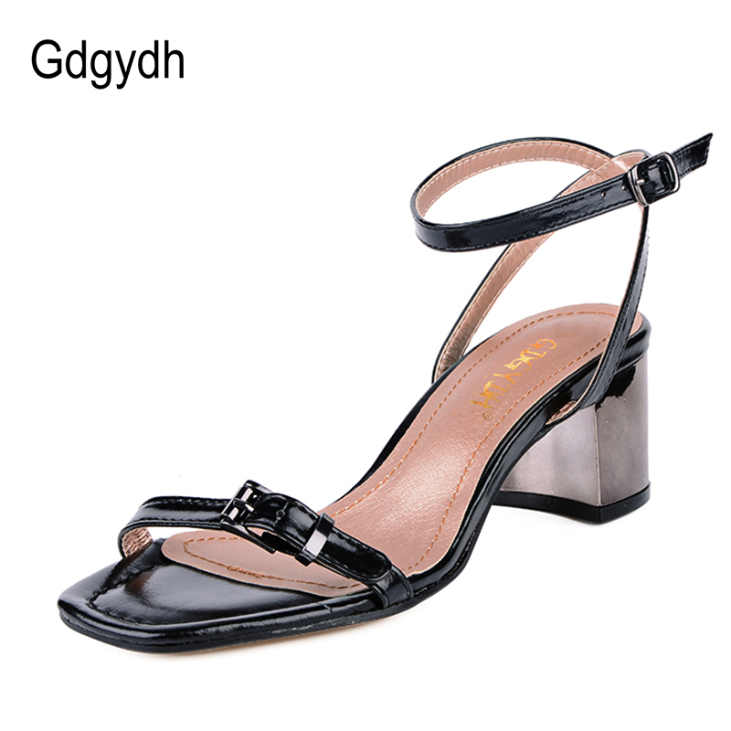 Gdgydh 2018 New High Heels Women Sandals Open Toe Buckle Ankle Strap Ladies Party Shoes Simple Belt Black Fashion Summer Sandals summer new fashion blue purple feather straps women open toe sandals sexy t strap ankle buckle ladies high heels size42