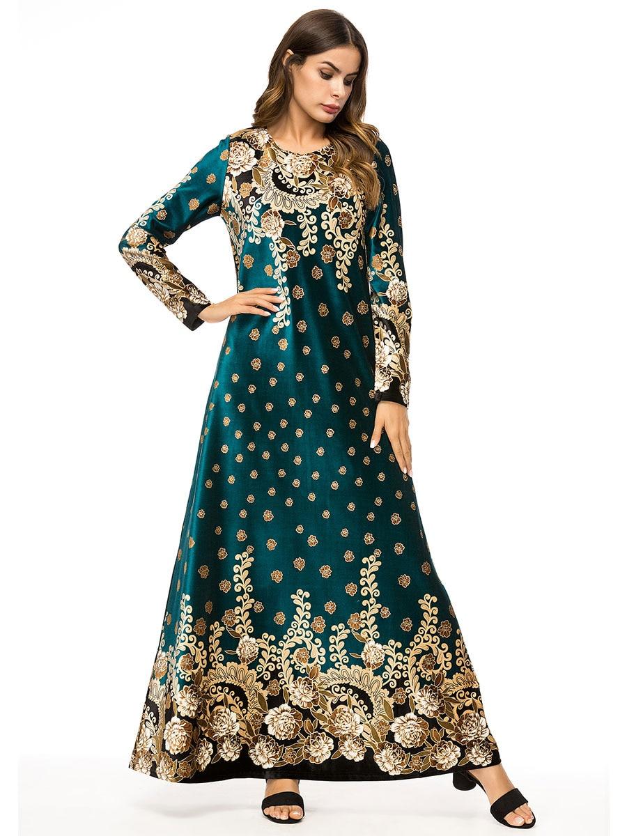 Muslim women long sleeves velvet embroidery Dubai Dress maxi abaya jalabiya islamic women clothing robe kaftan Moroccan 7319