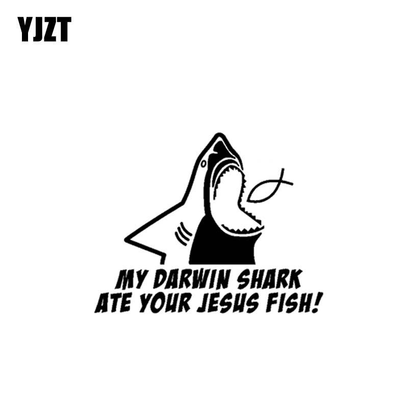 YJZT 19CM*14.9CM My Darwin Shark Ate Your Jesus Fish Vinyl Car Motorcycle Stickers Decal Black/Silver C13-000301