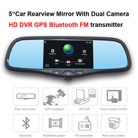 5Car Rearview Mirror With With Dual Camera HD DVR Bluetooth FM transmitter video audio player