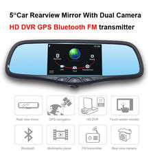 5″Car Rearview Mirror With With Dual Camera HD DVR Bluetooth FM transmitter video audio player