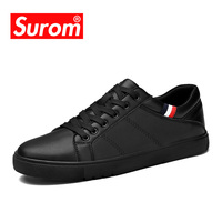 SUROM Men's Leather Casual Shoes Classic Fashion Male Lace up Flats Black White Men Krasovki Flat Heel Sneakers tenis masculino
