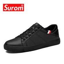SUROM hombres de Cuero Zapatos Casuales Clásico Masculino de La Manera Atan para arriba Pisos Negro Blanco Hombres Krasovki Talón Plano Zapatillas de tenis masculino