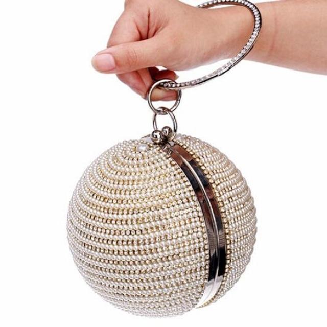 Best Price Women s Pearl Bag Pearl Beaded Diamond Tellurion Evening Bag  Bridal Wedding Round Ball Wrist 6cfeb420245e