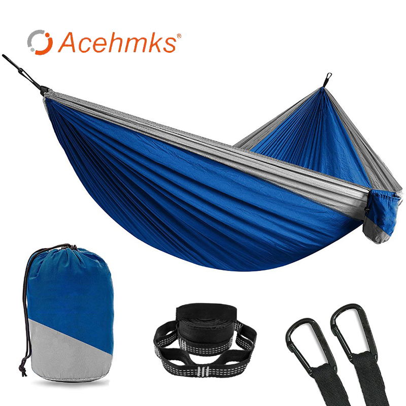 2 Person Camping Parachute Hammock Adults Portable Garden Swing Outdoor Sleeping Survivors Hammock Belt With 2 Pieces Of Tree