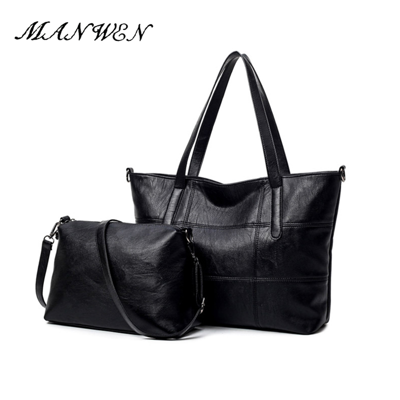 2 Set Black Handbag Women Composite Bag Female Large Capacity Tote Bag Female Fashion Shoulder Crossbody Bag Lady Small Purse women bag set top handle big capacity female tassel handbag fashion shoulder bag purse ladies pu leather crossbody bag