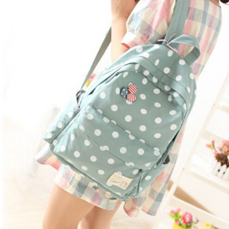 Shipping free !New 2014 Casual Women's dot Canvas Backpack Women Girl Lady Student School Bags Travel Shoulder Bag Mochila free shipping casual canvas backpack school bag student backpack panda backpack