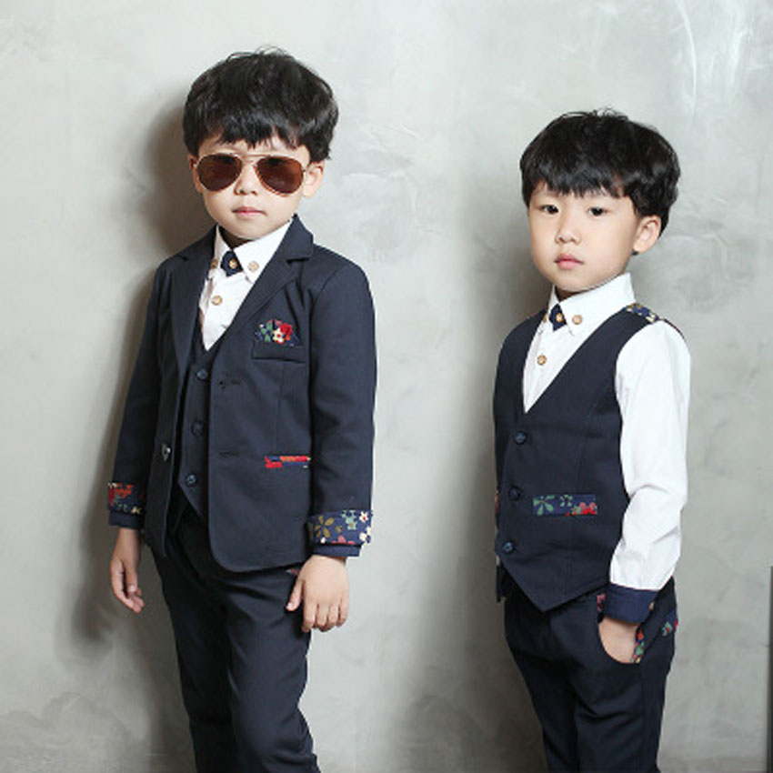 Boys Formal Blazer Suit for Weddings Kids Cotton Jacket+Vest+Pants 3 pieces/set Costume Toddler Boys New Fashion Clothing Blazer