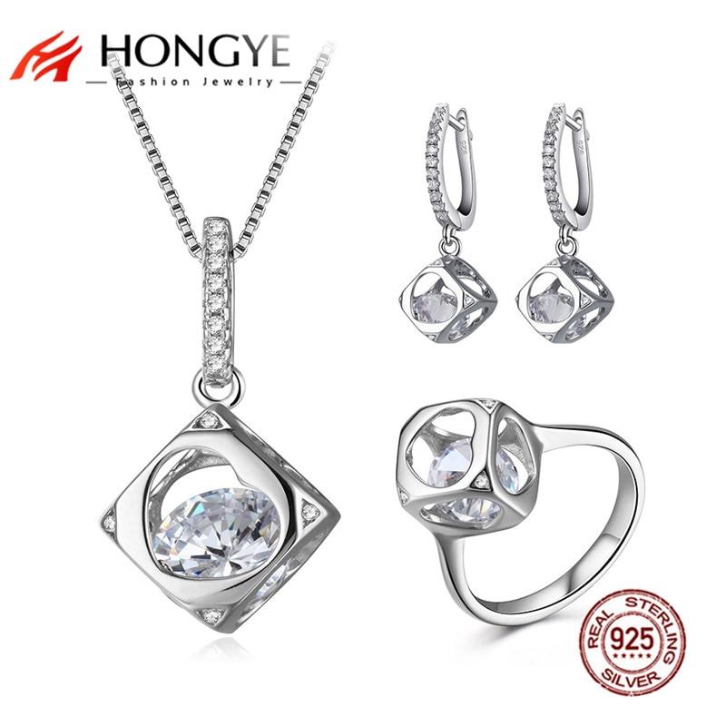 HONGYE Femme de mariage 925 bijoux en argent Sterling ensemble clair cubique zircone creux Cube pendentif collier boucles d'oreilles anneau femmes cadeau