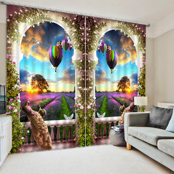 Luxury Chinese Modern Hot-air Balloon  Lavender 3D Blackout Window Curtains For  Bedding room Living room Hotel Drapes Cortinas