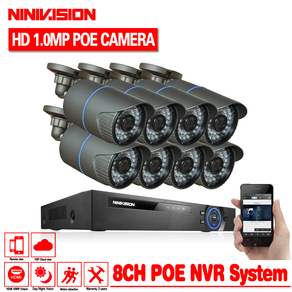 Full HD 8CH NVR 1080P POE 48V CCTV System Kit 1MP 720P Indoor Outdoor IP Camera