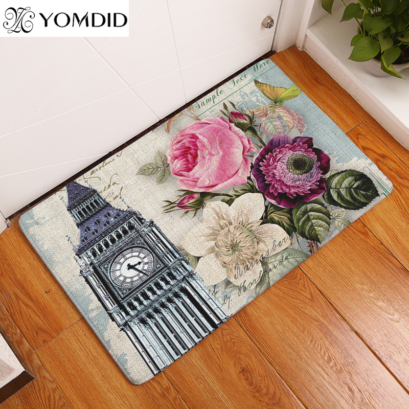 European architectural printing mats Doormat Retro Flowers Print Carpets Floor Kitchen Bathroom Rugs 40X60 50x80cm Home decor