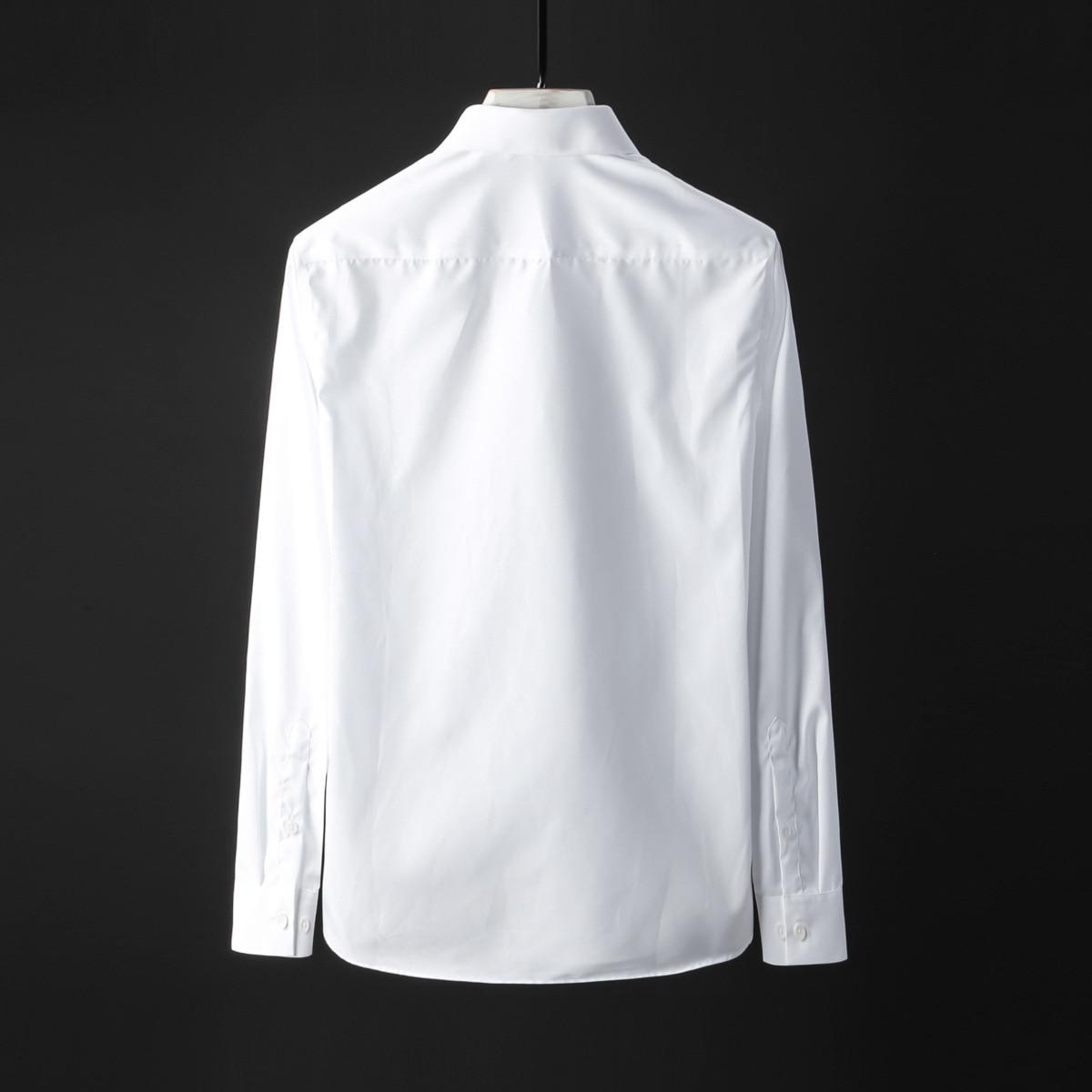 Hommes Camisa Mode Résine À Coton Casual Patte Chemise De Longues Manches Imprimé Slim Luxe Fit black 100 Chemises Masculina White ancBqw51PP
