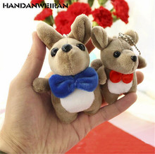 HANDANWEIRAN 1PCS Mini Bow Tie Kangaroo Plush Toy Creative Cute Cartoon Cangaroos Doll Small Pendant Gift 9CM/12CM