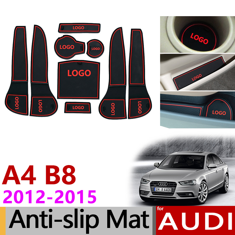 Anti-Slip Rubber Gate Slot Cup Mat for <font><b>Audi</b></font> <font><b>A4</b></font> <font><b>B8</b></font> 2012 2013 <font><b>2014</b></font> 2015 <font><b>A4</b></font> 8K RS4 S4 S line RS 4 Interior Accessories Car Styling image
