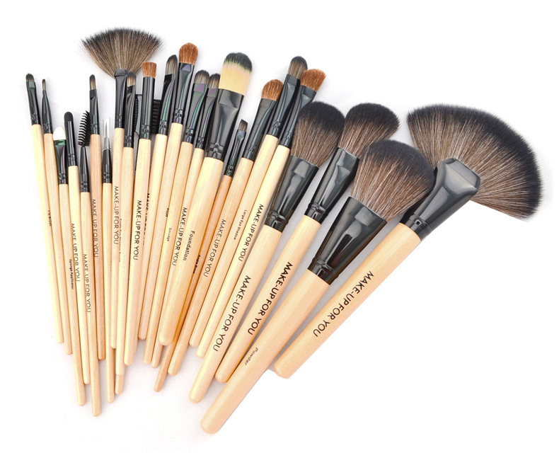Professional 24pcs Makeup Brushes Set Cosmetic Make Up Tools Set Fan Foundation Powder Brush Eyeliner Brushes With Leather Case professional bullet style cosmetic make up foundation soft brush golden white