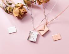 925 Sterling Silver Envelope Shaped Pendant Necklace