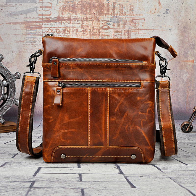 Men Oil Wax Genuine Leather Crossbody Bag High Quality Business Casual Crossbody Shoulder Bag Travel Genuine leather Men Ba