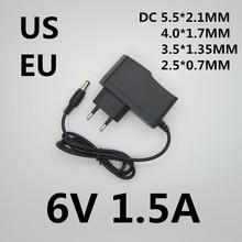 최고의 품질 ac/dc 어댑터 dc 6 v 1.5a ac 100-240 v 변환기 어댑터 6 v 1500ma 충전기 전원 공급 장치 eu 미국 플러그
