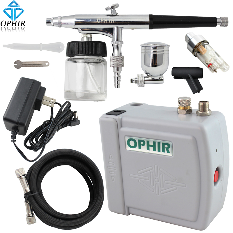 OPHIR 0.3mm Dual Action Airbrush Kit with Air Compressor Cake Airbrush Kit Nail Art Paint Mahine Makeup Tools#AC003H+AC005+AC011 ophir 0 3mm dual action airbrush kit with air compressor