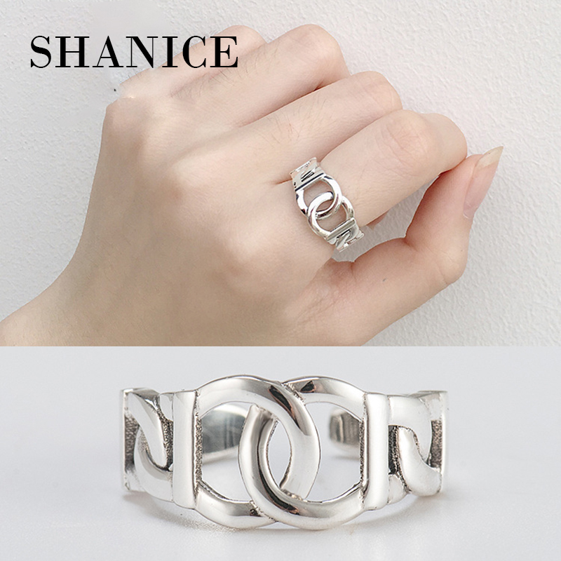 SHANICE 925 Sterling Silver Open Ring For Women Double-layered Interwoven Retro Old Style Lady Rings Bijoux Femme