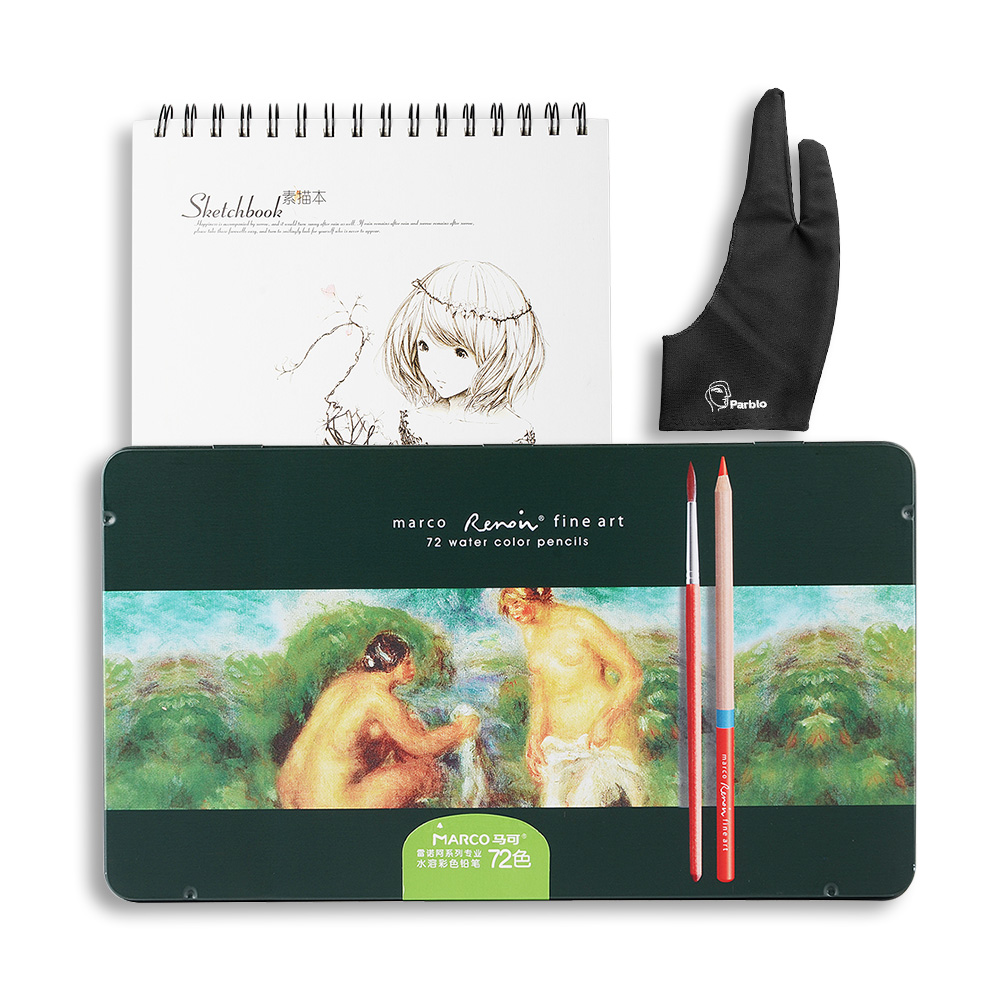Marco Renoir Fine Art 48/72 Water Color Pencils Set With Metal Tin Case+ A4 Sketchbook + Two-finger Drawing GloveMarco Renoir Fine Art 48/72 Water Color Pencils Set With Metal Tin Case+ A4 Sketchbook + Two-finger Drawing Glove