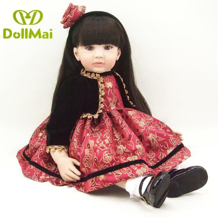 "22""56cm bebe alive black  long hair stylish princess toddler doll Reborn Babies Silicone handmade kids Xmas birthday gift"