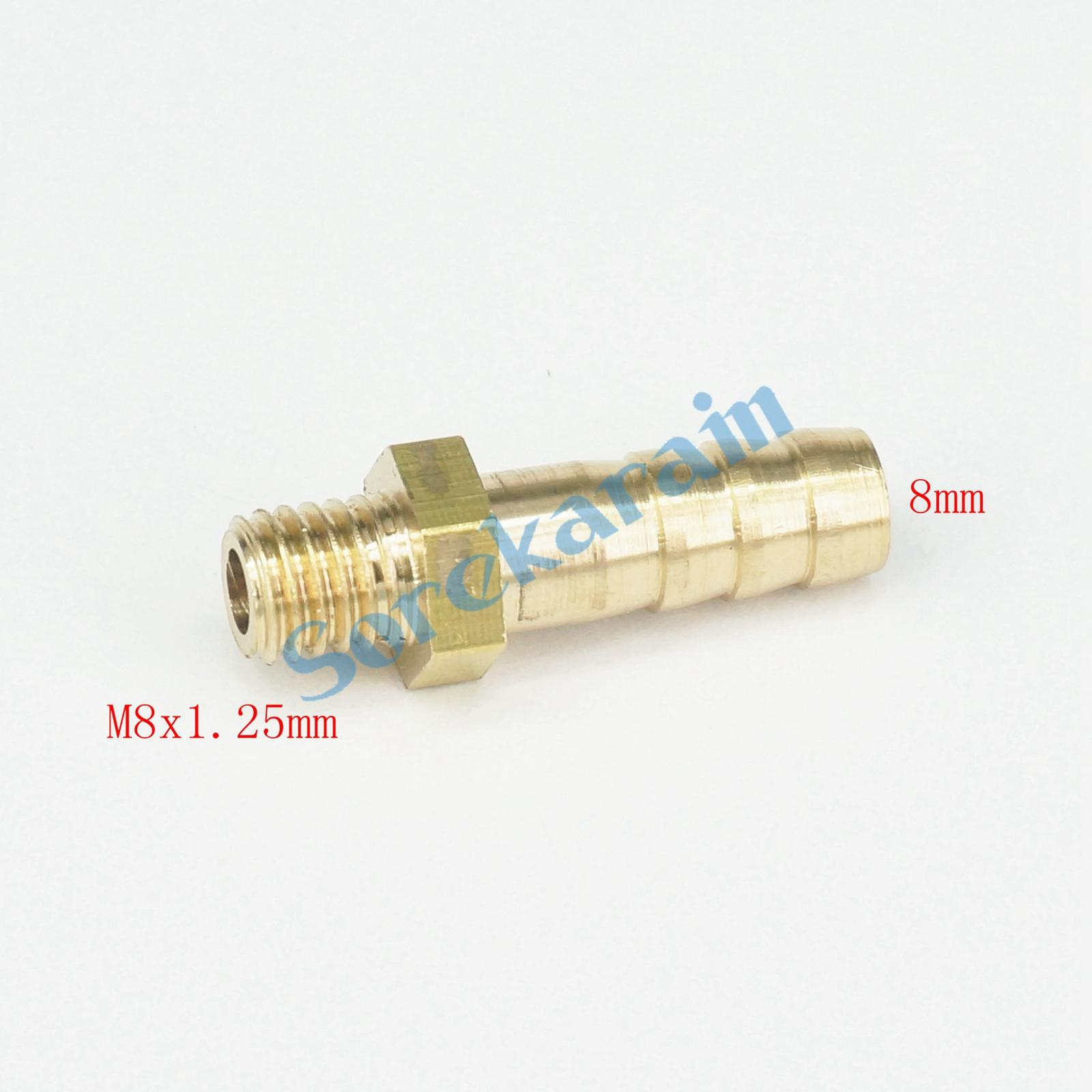 LOT 5 Hose Barb I/D 8mm x M8x1.25mm Metric Male Thread Brass coupler Splicer Connector fitting for Fuel Gas Water