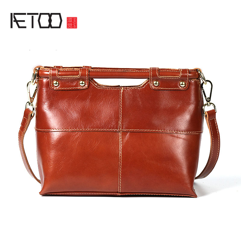 AETOO New casual leather handbags first layer of leather shoulder bag ladies shoulder oblique bag aetoo new first layer of leather men s shoulder bag leather male package cross section oblique cross bag japanese and korean ver