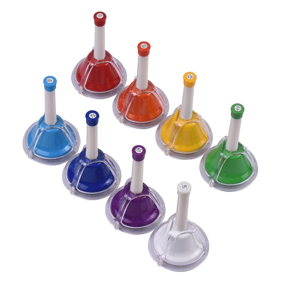 ViTOOS coloré Diatonic Bell métal 8 Note Handbell main Percussion cloches Kit jouet Musical pour enfants enfants pour l'apprentissage Musical