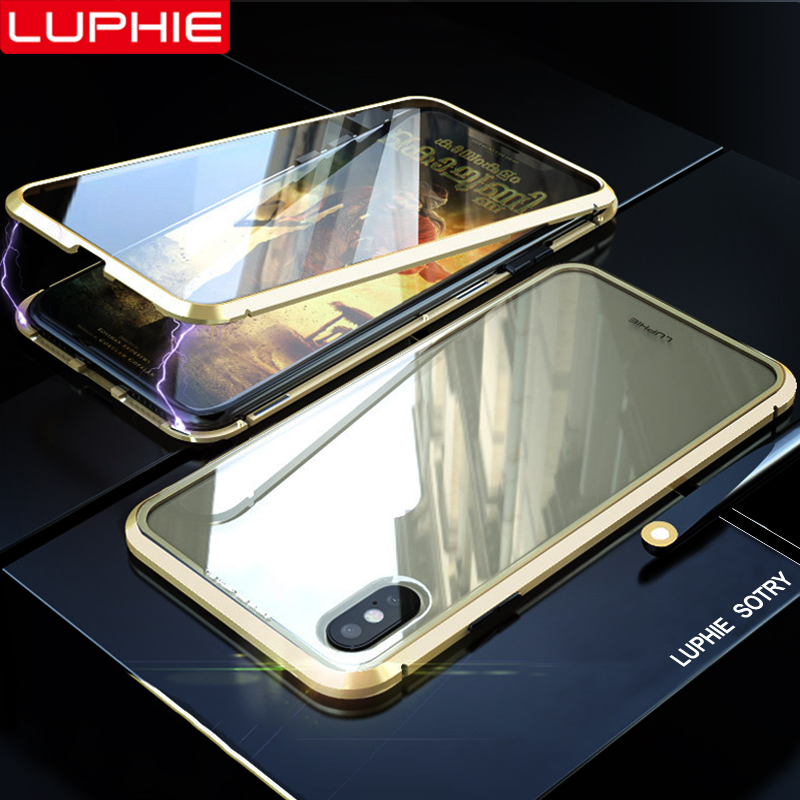 LUPHIE 360 Degree Full Magnetic Case For iPhone X XS Max XR 8 7 Plus Cover Front Back Glass Case For iPhone 7 8 X XS Magnet Case repsol brake lever