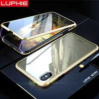 LUPHIE 360 Gradi Pieno di Caso Magnetico Per iPhone X XS Max XR 8 7 Più Della Copertura Anteriore Posteriore Cassa di Vetro per il iphone 7 8 X XS Cassa del Magnete