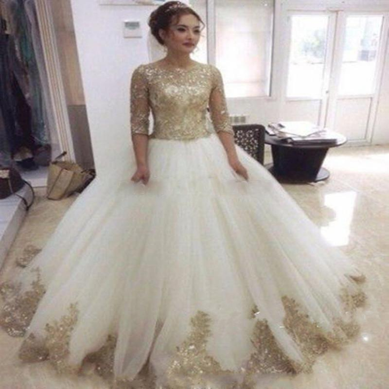 Ball Gown Stunning Half Sleeves Evening Dresses 2016 Muslim Arabic Islamic Gold Sequins Beaded