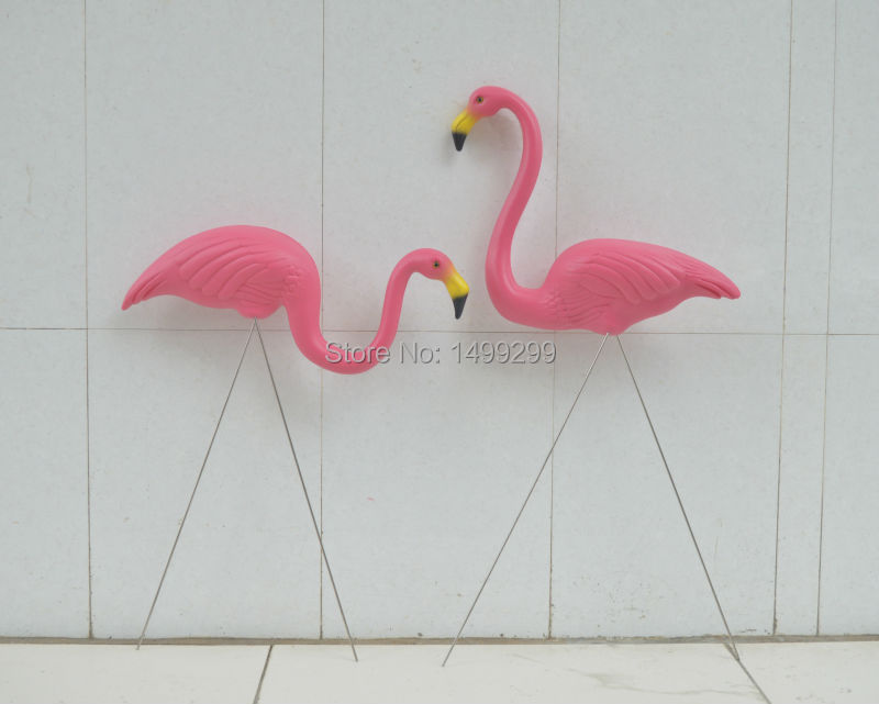 1 pair plastic rose flamingo garden yard and lawn art ornament wedding ceremony decoration with 31