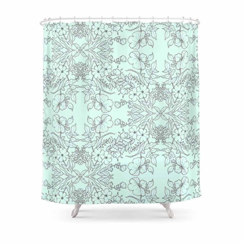 dotted floral scroll in mint and grey shower curtain set waterproof polyester fabric for bathroom with floor mat